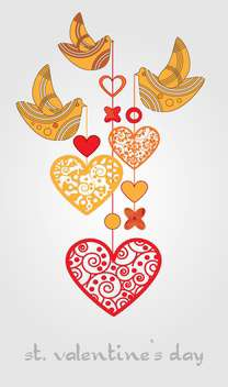 Vector background with birds and hearts on white background - vector gratuit #126721