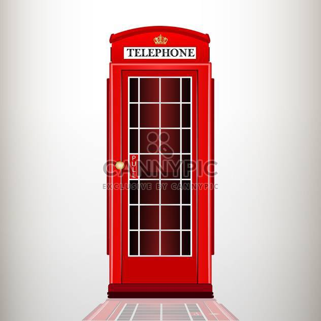 Vector illustration of english red telephone booth on grey background - Free vector #126761