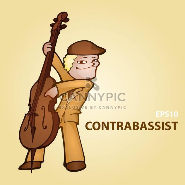 Vector cartoon contrabassist on brown background - Free vector #126791
