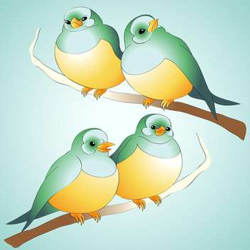 Vector cute birds on wooden branch - vector gratuit #126801
