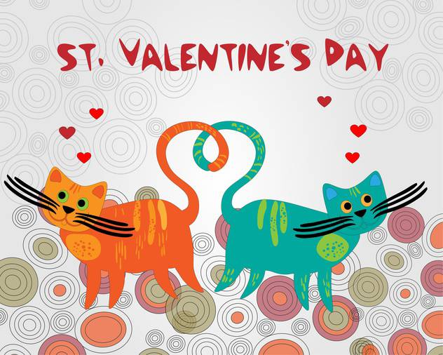 Vector colorful background with cats for Valentine's day - Free vector #126811