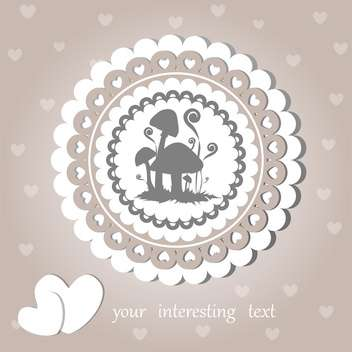 Vector vintage background with mushrooms and cute hearts - vector gratuit #126851
