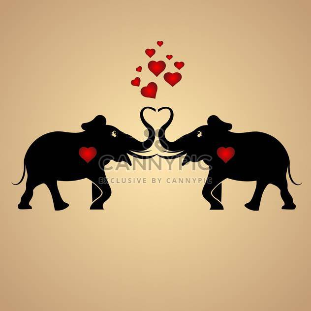 Vector background with black elephants in love with red hearts - Free vector #126881