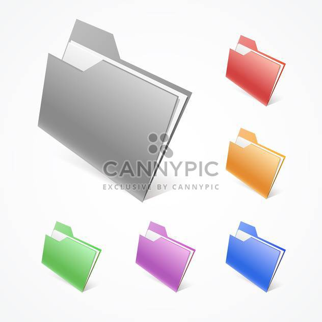 Vector illustration of colorful folders on white background - Free vector #126891