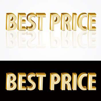 Vector gold best price signs on black and white background - vector gratuit #126921