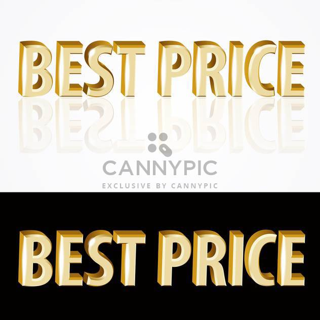 Vector gold best price signs on black and white background - Free vector #126921