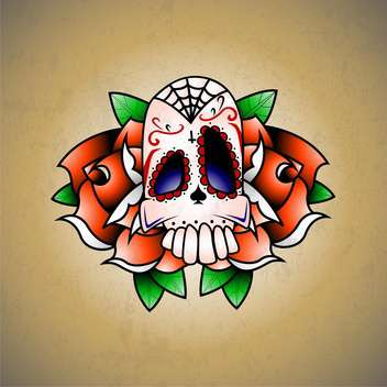 Vector illustration of scull with red flower and green leaves on brown background - Free vector #126981