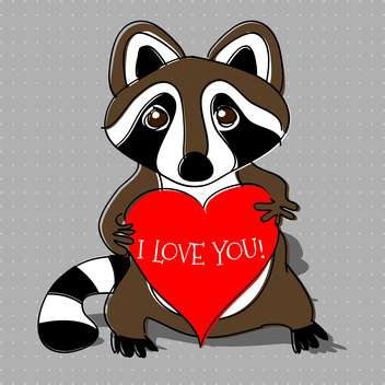 vector illustration of cartoon raccoon in love with red heart in hands - бесплатный vector #127001