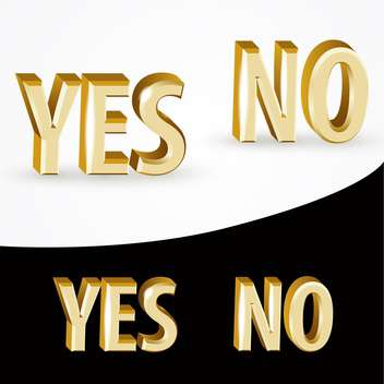 Vector gold Yes and No signs on black and white background - vector gratuit #127011