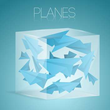 vector illustration of paper airplane in glass box - vector #127061 gratis