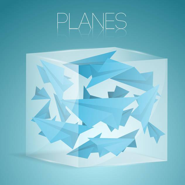 vector illustration of paper airplane in glass box - Free vector #127061
