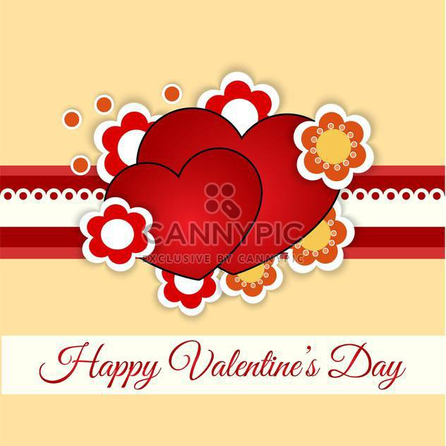 Vector greeting card with hearts and flowers for Valentine's day - Free vector #127081