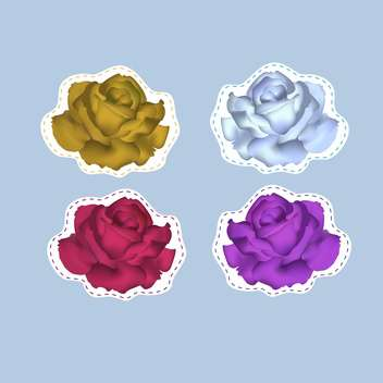 Vector illustration of colorful roses on blue background - vector #127091 gratis