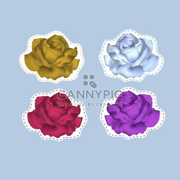 Vector illustration of colorful roses on blue background - Free vector #127091