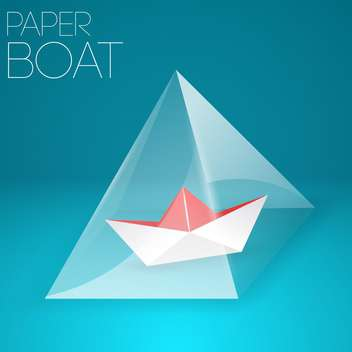 Vector illustration of paper boat in glass pyramid on blue background - Free vector #127151