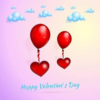 Valentine's background with red heart shaped balloons - vector gratuit #127291
