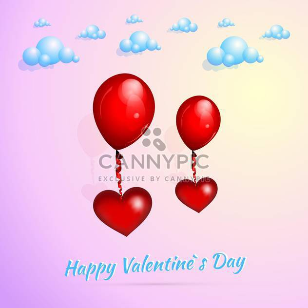 Valentine's background with red heart shaped balloons - Free vector #127291