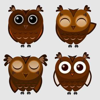 Vector set of cartoon owls on grey background - vector gratuit #127301