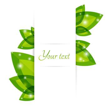 Fresh green leaves vector border with text place - vector gratuit #127331