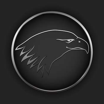 Vector black button with drawing eagle in circle - vector gratuit #127501