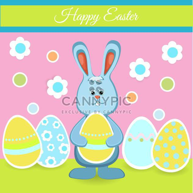 Happy easter card with bunny and eggs for holiday background - Free vector #127621