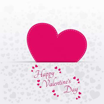 Vector greeting card for Valentine's day with pink heart - vector gratuit #127641