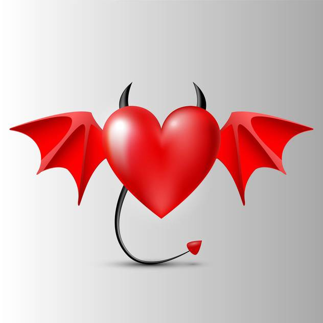 evil red color heart with wings - vector gratuit #127701