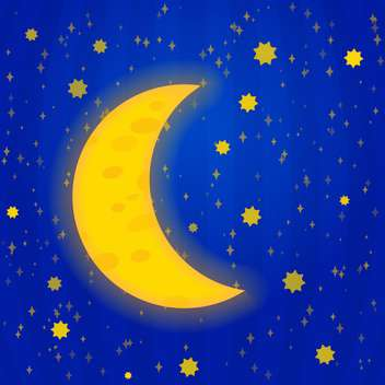colorful illustration of big yellow moon on blue night sky - vector gratuit #127751