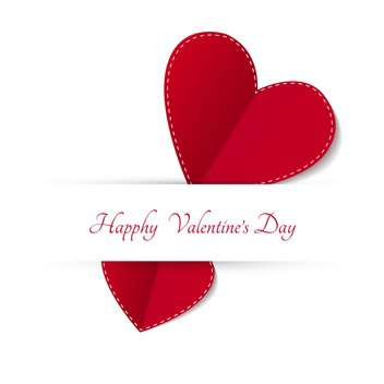 Valentines Day Card with red hearts on white background - бесплатный vector #127781