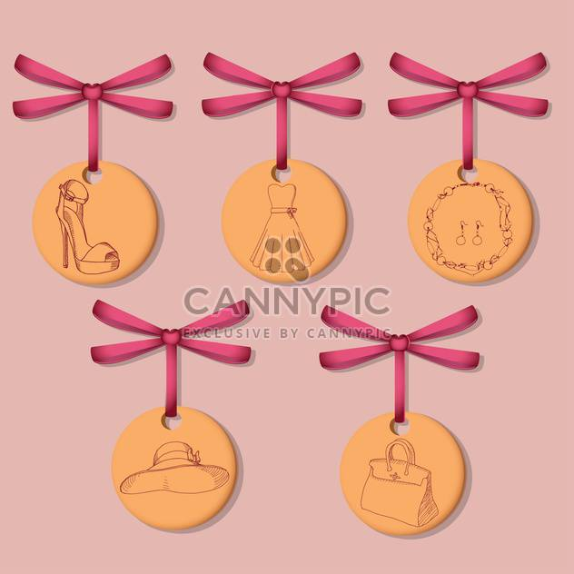 female labels with clothes and accessories on pink background - Free vector #127791