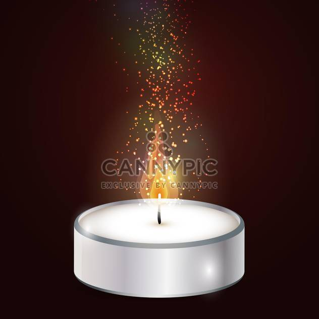Vector illustration of candle on brown background - Free vector #127811