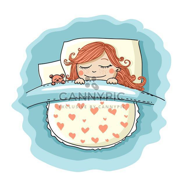 colorful illustration of cute girl sleeping in bed with teddy bear - Free vector #127821