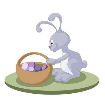 Easter bunny rabbit with easter basket full of decorated easter eggs on white background - бесплатный vector #127861