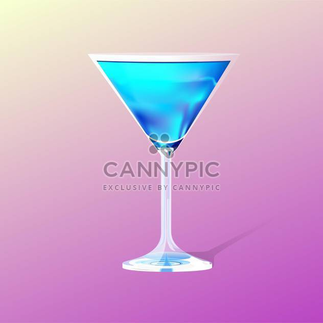 Glass with blue cocktail on blue background - Free vector #127901