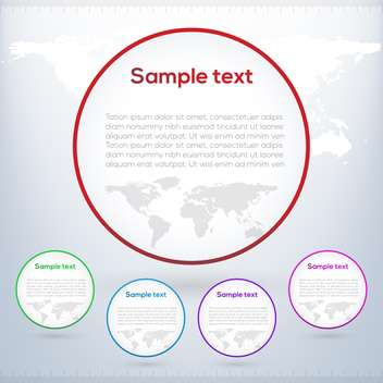 round shaped banners on white world map background - Free vector #127951