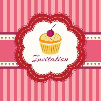 sweet cupcake with cherry for invitation background - vector gratuit #127961