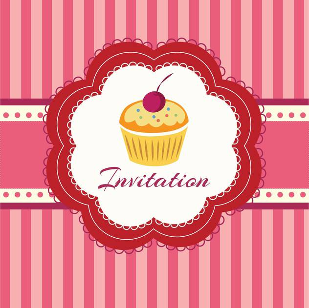 sweet cupcake with cherry for invitation background - Kostenloses vector #127961