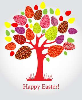 holiday background with easter tree and eggs - Free vector #128061