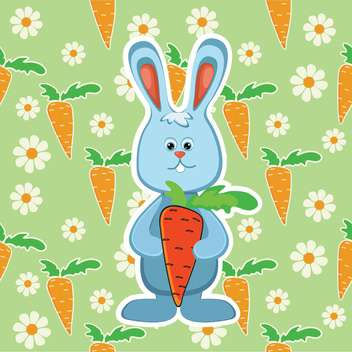 colorful illustration of Rabbit with orange carrot on green background - бесплатный vector #128081