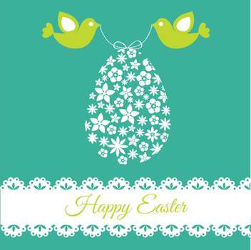 Vector illustration of easter egg card with birds - vector gratuit #128111