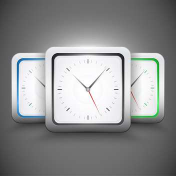 Vector square clocks on grey background - Free vector #128161