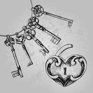 Heart shaped lock with keys background - vector gratuit #128221