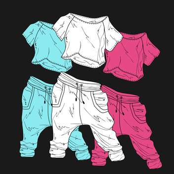 women sport clothes, on black background - vector gratuit #128241
