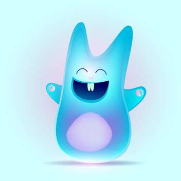 Blue happy bunny rabbit, vector Illustration - vector gratuit #128251