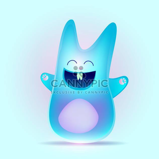 Blue happy bunny rabbit, vector Illustration - Free vector #128251
