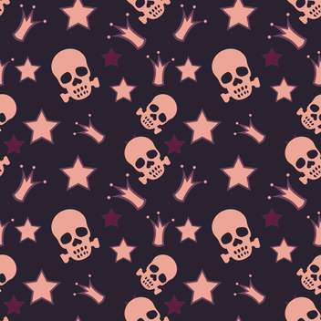 Seamless background with skulls, crowns and stars - Kostenloses vector #128261