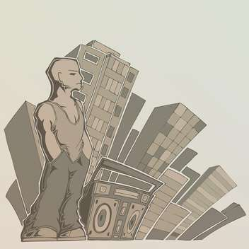 man with boombox on city background - vector #128271 gratis