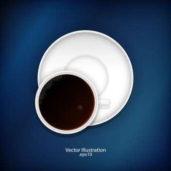 White cup of black tea on blue background - vector #128291 gratis