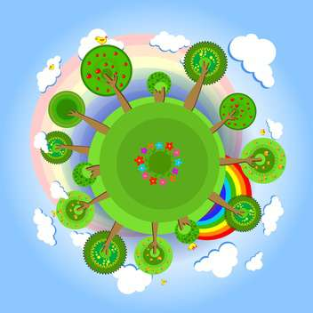 Eco earth with trees, clouds, flowers, birds and rainbow - vector gratuit #128391
