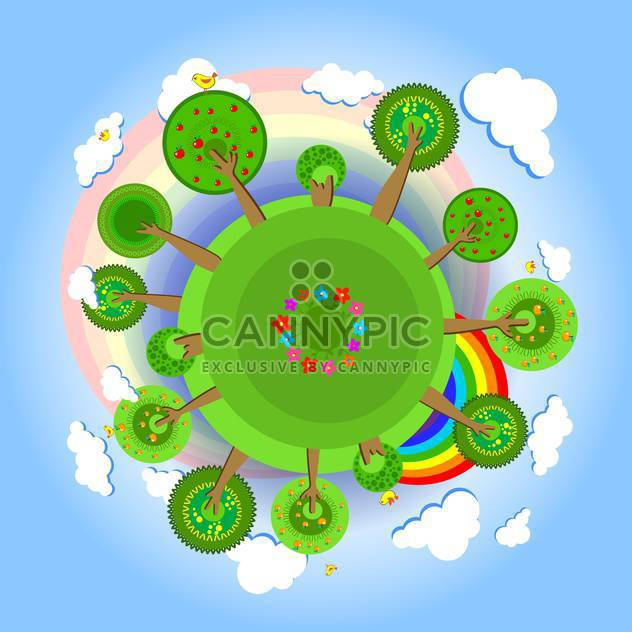 Eco earth with trees, clouds, flowers, birds and rainbow - Free vector #128391